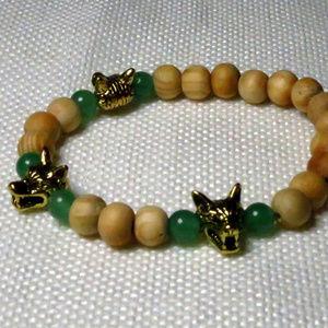 Jewelry - Cerberus Wolf, Aventurine Stone, & Wood Bracelet